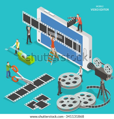 Mobile video editor flat isometric low poly vector concept. People create a movie on smartphone using film strip and sticky tape.