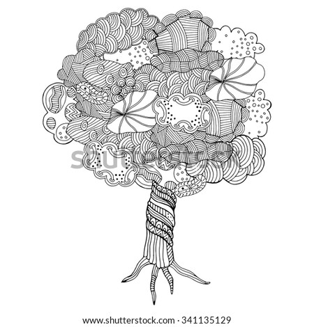 Zentangle pattern for coloring book. Hand-drawn decorative tree element in vector. Tree made of clouds. #341135129