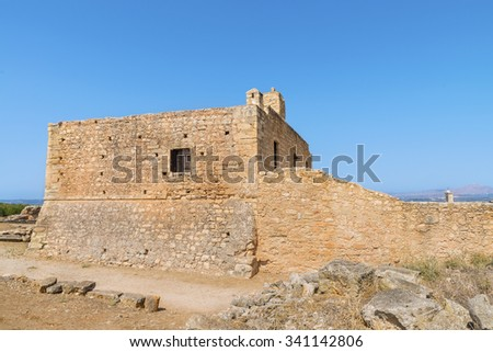 Monastery of St. John Theologian in famous ancient Aptera town at sunny summer day.District of Chania.Crete island. Greece.Europe. #341142806