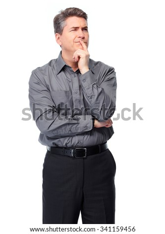 Handsome serious businessman. Isolated over white background.  #341159456