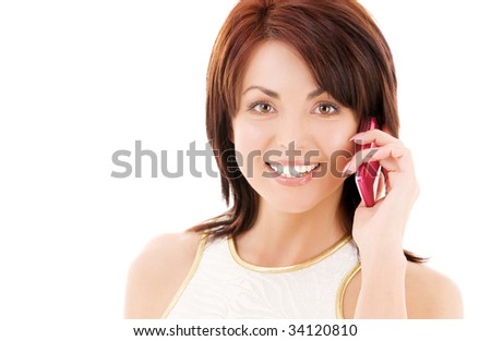 picture of happy woman with cell phone #34120810