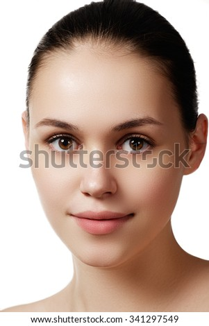 Make-up & cosmetics. Closeup portrait of beautiful woman model face with clean skin on white background. Natural skincare beauty, clean soft skin. Spa treatment  #341297549