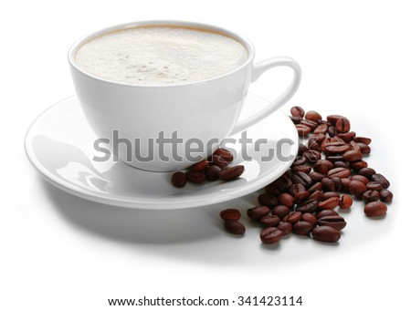 A cup of tasty drink and scattered coffee grains, isolated on white #341423114
