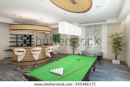 Part of Living Room with Billiard 3d Rendering #341486171