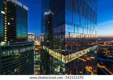 Modern business skyscrapers, high-rise buildings, business center. Royalty-Free Stock Photo #341515370