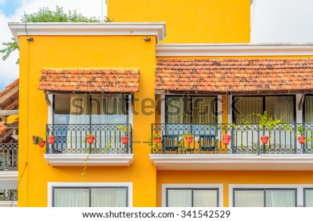 Modern apartment buildings in Playa Del Carmen, Mexico. #341542529
