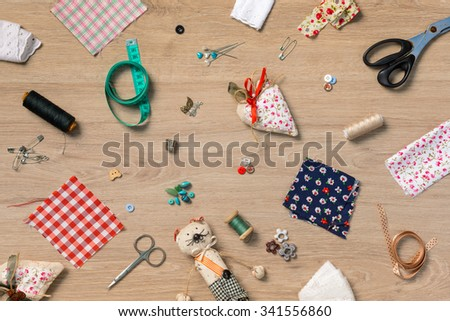 Wallpaper of objects related to sewing and handcraft #341556860