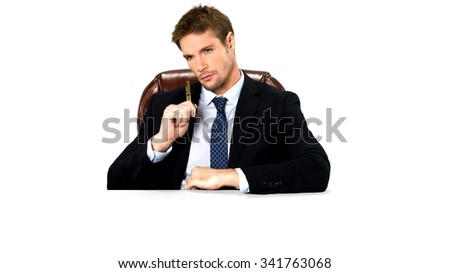 Serious Caucasian man with short medium blond hair in business formal outfit holding office chair - Isolated #341763068