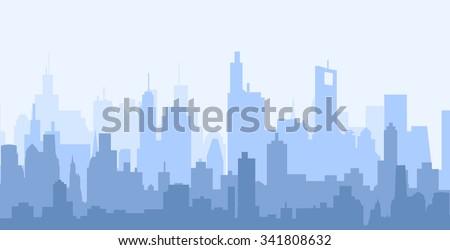 Modern City Skyline - Vector Royalty-Free Stock Photo #341808632
