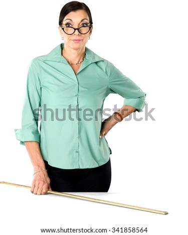 Serious Caucasian woman dark brown in business casual outfit holding ruler - Isolated #341858564
