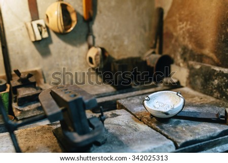 Jeweler tools in a furnace used to craft jewelery #342025313