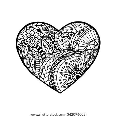 Vector of heart in zentangle style #342096002