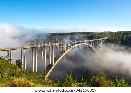 Famous bridge on the garden route where people do bungee jump in South Africa. Royalty-Free Stock Photo #342150329