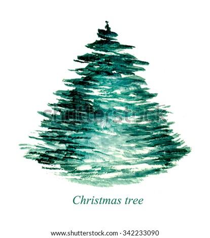 Christmas tree. Watercolor hand drawn