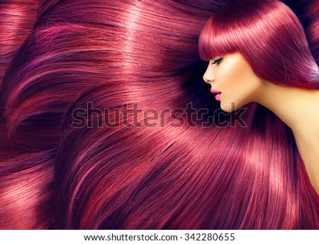 Beautiful Hair. Beauty woman with luxurious long red hair as background. Beauty Model girl with Healthy Hair. Beautiful woman with long smooth shiny straight hair. Hairstyle. Hair cosmetics, haircare #342280655