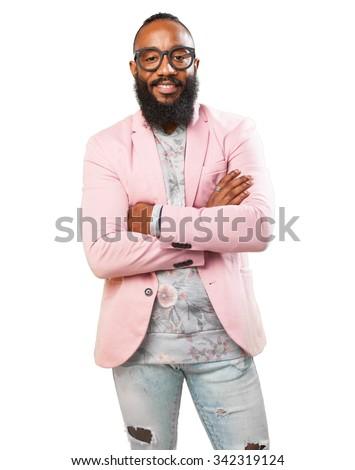 black man crossing arms