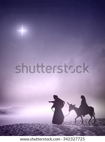 Christmas religious nativity concept: Joseph and Mary going to Bethlehem