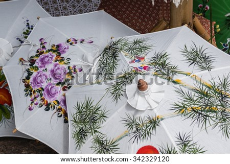 colorful silk umbrellas Handicrafts in Thailand #342329120