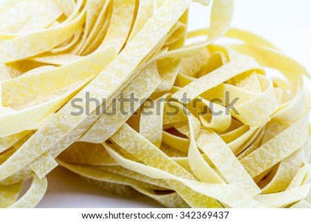 Original Italian tagliatelle, isolated on white #342369437