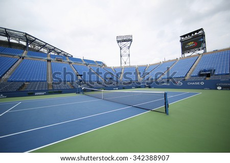 NEW YORK - SEPTEMBER 12, 2015: Louis Armstrong Stadium at the Billie Jean King National Tennis Center during US Open tournament in Flushing, NY #342388907