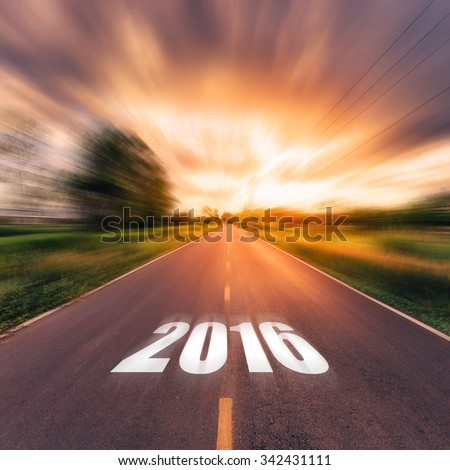 country road and field with beautiful sunset vintage. Forward to the New Year 2016. #342431111