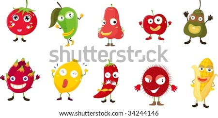 Illustration of  a cartoon fruits and vegetables #34244146