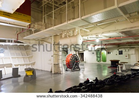 NEW YORK, USA - SEP 25, 2015: Back part of the USS Intrepid (The Fighting I), one of 24 Essex-class aircraft carriers built during World War II for the United States Navy #342488438