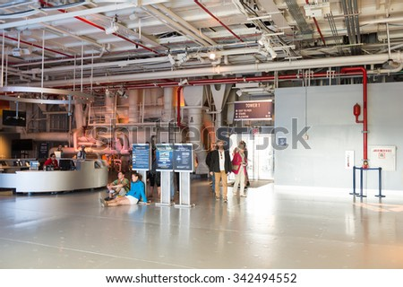 NEW YORK, USA - SEP 25, 2015: Interior of the USS Intrepid (The Fighting I), one of 24 Essex-class aircraft carriers built during World War II for the United States Navy #342494552