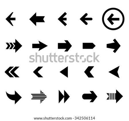 Back and next arrow icons vector set. Button flat, interface cursor illustration #342506114