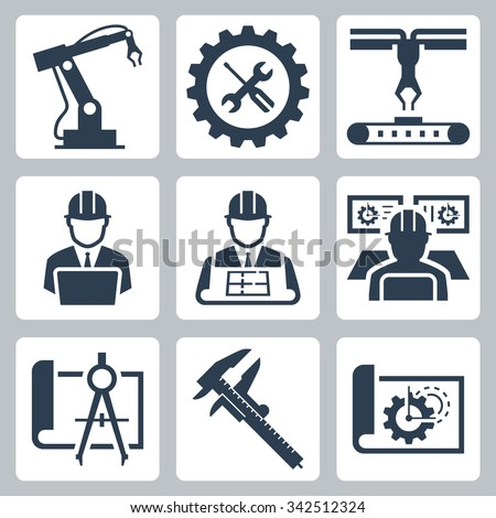 Engineering and manufacturing vector icon set Royalty-Free Stock Photo #342512324