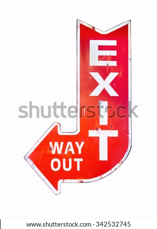 Vintage sign Exit Way out Retro style isolated Signage