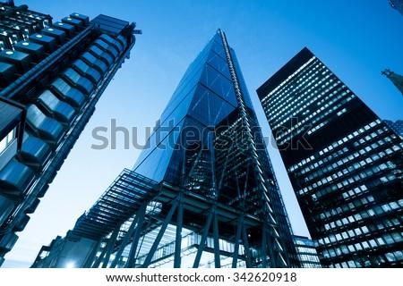 Windows of Skyscraper Business Office, Corporate building in London City, England, UK #342620918