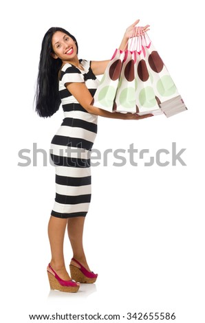 Woman in christmas shopping concept on white #342655586