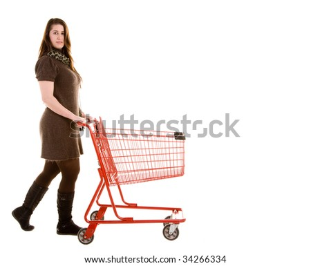 Woman with a shopping cart #34266334