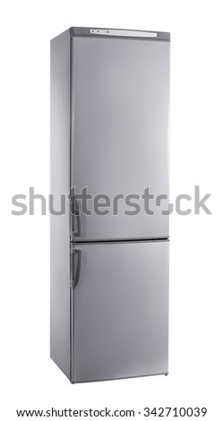 three-quarter studio shot big stainless steel refrigerator isolated on white #342710039