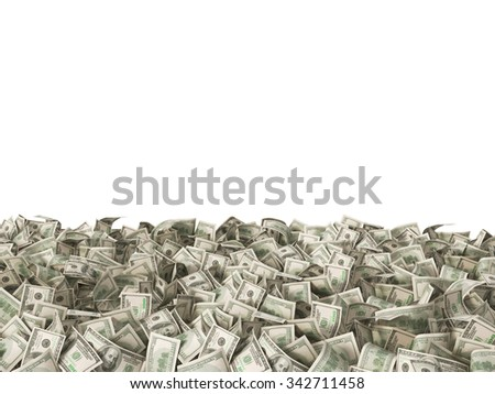 hundred dollars banknotes money bills on the ground isolated on white