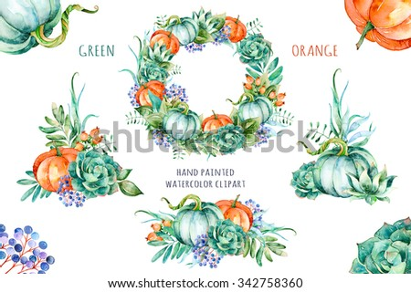 """""""Green Orange"""" hight quality watercolor painted collection with pumpkins,flowers,leaves, berries, succulents.3 beautiful bouquet and 1wreath,floral clip art.Perfect for greeting card,blogs,invitation"""