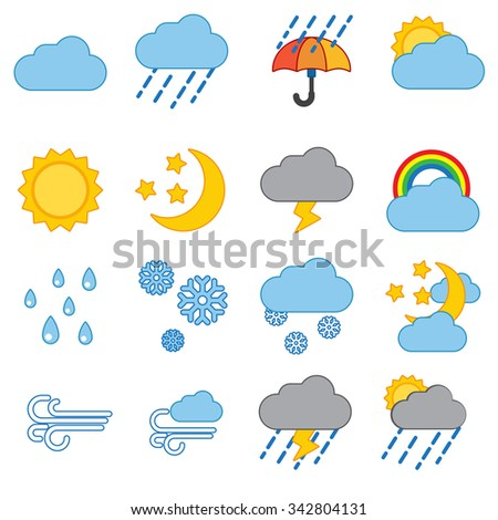 Weather icon set modern trendy  vector illustration #342804131