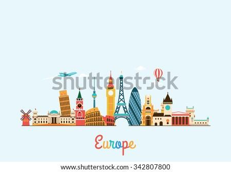 Europe skyline. Travel and tourism background.  #342807800