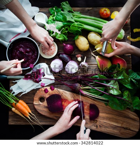 Cooking vegetable soup with beetroot #342814022