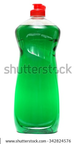 cleaning equipment isolated on a white background. colored plastic bottles with Detergent isolated on white background . Studio shooting. Set.  Royalty-Free Stock Photo #342824576