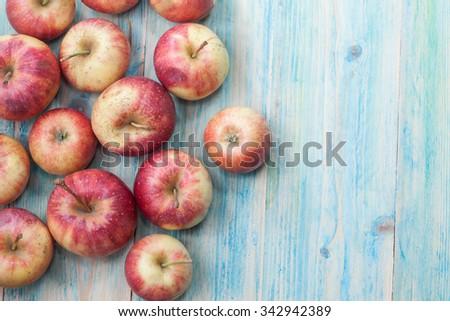 apples on  wood background. toning. #342942389
