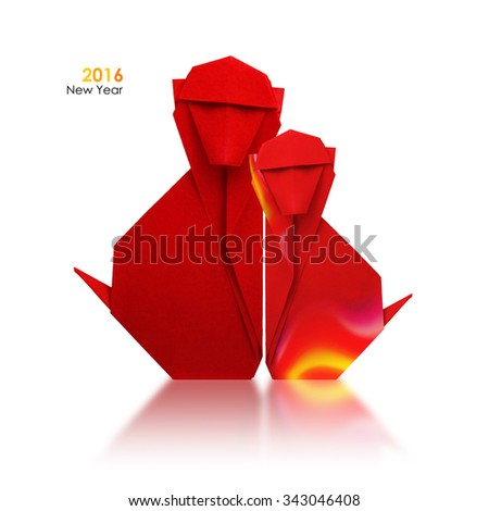 2016 new year simbol origami red fire monkey couple on a white background