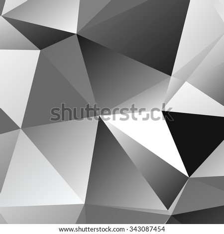 Black and White bright triangle polygon background or frame. Abstract Geometrical Backdrop. Geometric design for business presentations or web template. grey B&W monochrome. Illustration. #343087454