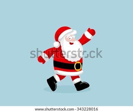 Santa Claus running. Vector illustration. EPS 8. No transparency. No gradients. #343228016