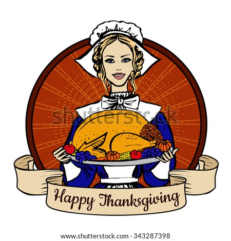 Happy Thanksgiving label with woman in traditional costume holding tray with turkey, fruits and vegetables