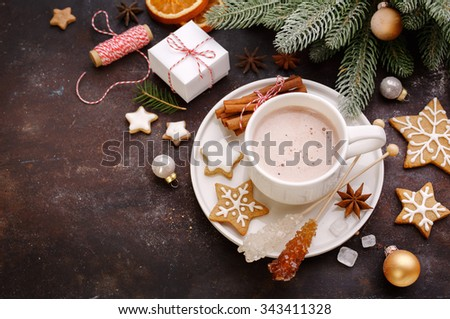 Christmas background with homemade gingerbread cookies and hot chocolate, top view. Christmas Holiday background  and free text space