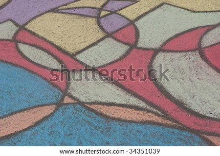 Sidewalk chalk drawing with a stained glass look makes a great background #34351039