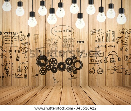 business plan with chart illustration