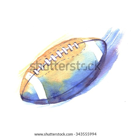 Hand-drawn watercolor American football illustration. The American football ball cup isolated on the white background